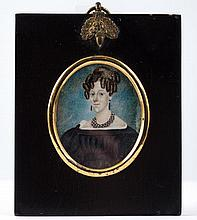 (19th c.) American Folk Art Portrait Miniature