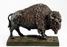 Cast Spelter Buffalo on Cast Iron Base