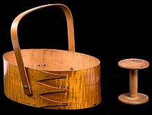 Signed Shaker Swing Handled Oval Maple Carrier