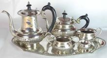 A Sterling Silver 6pcs Tea and Coffee Set with