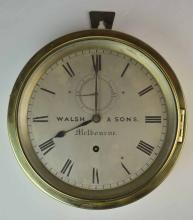 An Antique Brass Ships Clock, Dial Signed Walsh