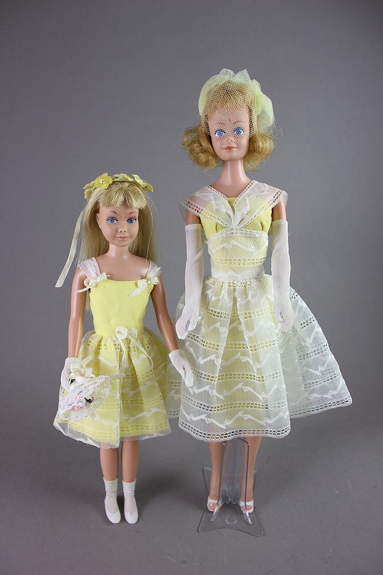 (2) BARBIES - MIDGE IN #987 ORANGE BLOSSOM AND SKIPPER IN #1904 FLOWER GIRL