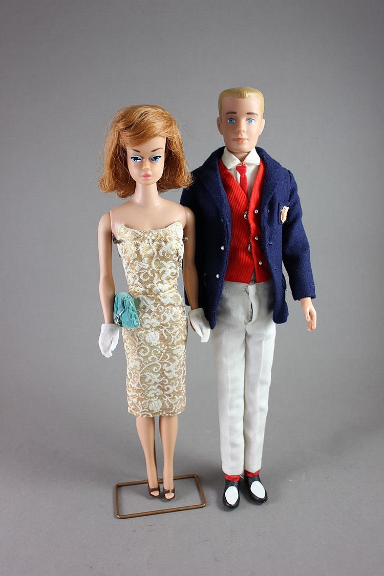 (2) BARBIES FASHION QUEEN IN #911 GOLDEN GIRL AND KEN IN TAGGED OUTFIT