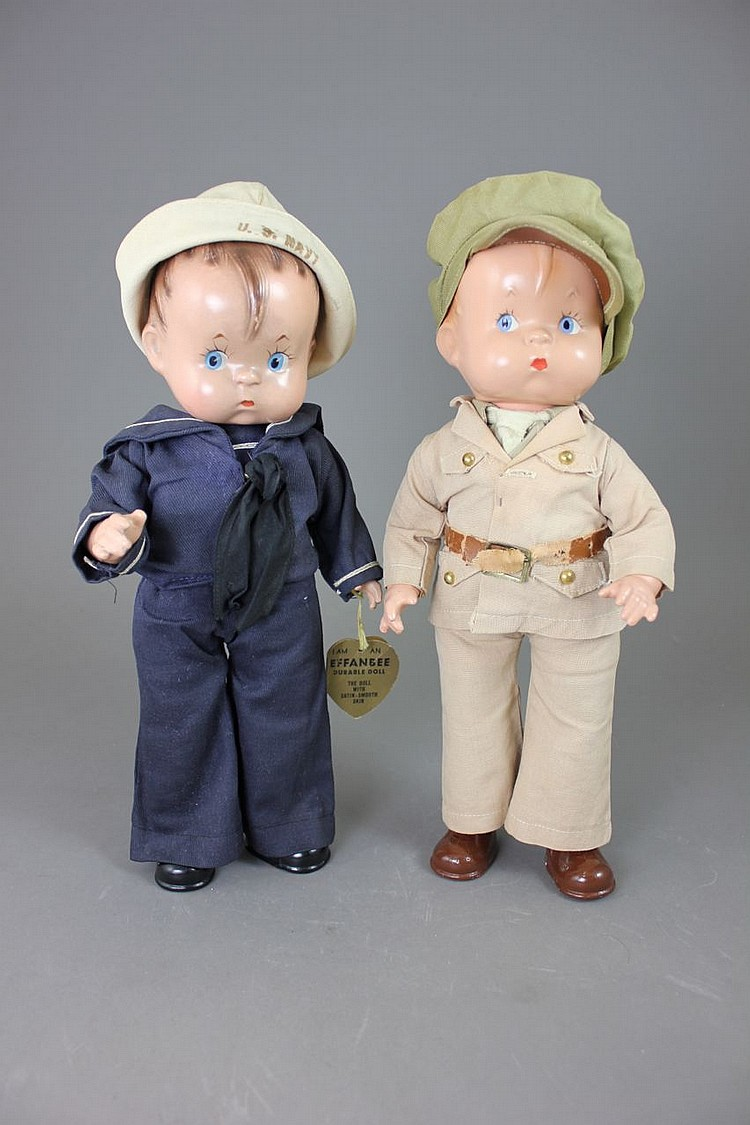 "(2) 14"" EFFANBEE ""SKIPPY"" MILITARY CHARACTER DOLLS"