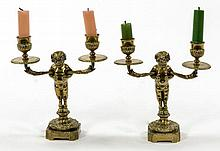 A PAIR OF BRASS CANDELABRA, late 19th century,