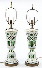A VERY ATTRACTIVE PAIR OF BOHEMIAN GREEN AND WHITE