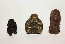 A SMALL BRASS FIGURE OF A BUDDHA, 3.5in (9cm), a