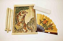 A SET OF FOUR CHINESE SCROLL PAINTINGS, each