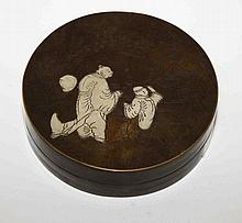 A CIRCULAR CHINESE BRONZE BASE AND COVER,