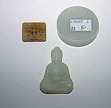A SMALL CARVED JADE BUDDHA, 2.5in (7cm), a jade