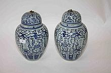 A PAIR OF CHINESE BLUE AND WHITE JARS AND COVERS,