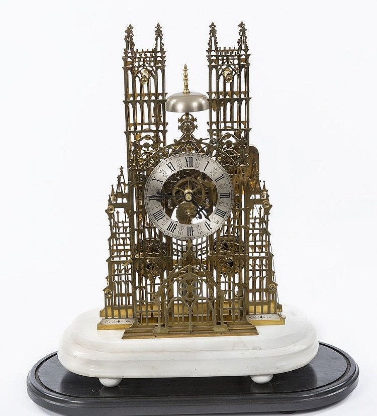 AN EXTREMELY FINE LARGE CATHEDRAL BRASS SKELETON