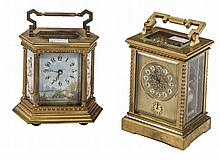 A HEXAGONAL BRASS AND PORCELAIN CARRIAGE CLOCK,