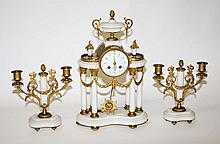 AN ATTRACTIVE THREE PIECE FRENCH GILT BRASS AND