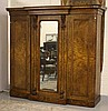 A GOOD VICTORIAN BURR WALNUT BREAKFRONT WARDROBE,