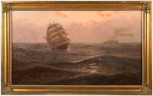 THOMAS ROSE MILES (ACT. 1869-1888, N.B.A),  Morning, depicting a three mast