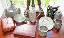 A COLLECTION OF MISCELLANEOUS WHITE METAL, comprising a coffee pot with cob