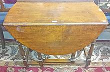 ####WITHDRAWN###A SMALL OAK DROP LEAF GATE LEG TABLE, O.R.M., with demi lune flaps and turn