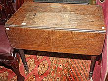 A 19TH CENTURY OAK DROP LEAF PEMBROKE TYPE TABLE, with rectangular flaps, f