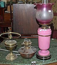 A PINK PORCELAIN OIL LAMP, c.1900, with Hink's patent wick mechanism and gl