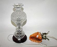 A TRIPLE GOURD CUT CRYSTAL TABLE LAMP, on mahogany base, 16in (40cm); toget