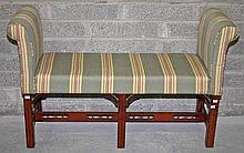A MAHOGANY WINDOW SEAT, In the late 18th century style, with padded seat an