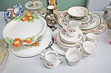 A COLLECTION OF MISCELLANEOUS CERAMICS, including pink rose pattern tea ser