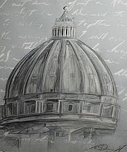 MODERN SCHOOL, The Dome on St. Peter's Bascilica, W.C., and pencil, indisti