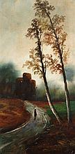 MODERN SCHOOL, Figure on a Country Lane, and its companion, Trees with Cott
