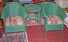 A FIVE PIECE GREEN PAINTED WICKER PATIO SUITE, comprising a circular glass