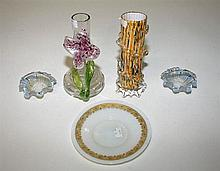 A COLLECTION OF MISCELLANEOUS COLOURED GLASS, comprising: a pair of opaline