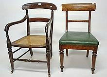 A PAIR OF VICTORIAN OAK SIDE CHAIRS, each with a curved bar back and a drop