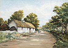 E.N. STEVENSON (20TH/21ST CENTURY IRISH), Roadside Thatched Cottage, with T