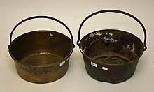 A BRASS PRESERVING PAN, with iron handle, 14in (36cm); and another similar