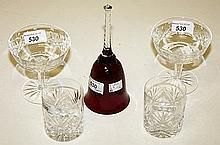 A SET OF EIGHT CRYSTAL GRAPEFRUIT GLASSES, each on a stem base, 4in (10cm);