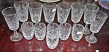 A SET OF EIGHT WATERFORD CRYSTAL WINES, each 7in (18cm); together with a se