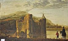 19TH CENTURY CONTINENTAL SCHOOL,  Figures by a Castle Ruin on a River,O
