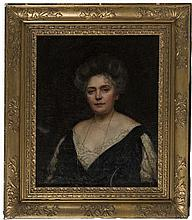 MAUD HALL NEALE (1869-1960),  Portrait of a Lady with Dark Laced Trimme