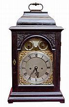 AN EBONISED BRACKET CLOCK,  by William Harrison London, the rectangular