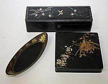 A JAPANESE SQUARE LACQUERED BOX AND COVER,  decorated with birds and fl