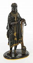 A 19TH CENTURY BRONZE AND GILT BRONZE FIGURE,  of A Classical Woman wit