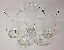 A PAIR OF NEPTUNE ENGLISH GLASS VASES,  On short stem base, 15in (38cm)