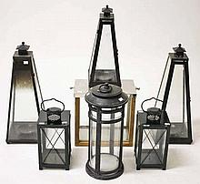 A LARGE STAINLESS STEEL MOUNTED WOODEN CANDLE LANTERN,  With swing hand