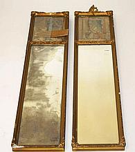 A PAIR OF ATTRACTIVE GILT PIER MIRRORS,  Late 19th century, early 20th