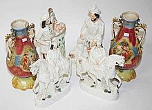 TWO 19TH CENTURY TALL FLAT BACK STAFFORDSHIRE FIGURES,  16in approx; to