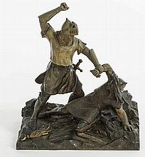 A TWO COLOUR BRONZE GROUP,  late 19th century, modelled with two mediev
