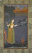 20TH CENTURY INDIAN SCHOOL,  Portrait of a Woman by a Fire with Dwellin