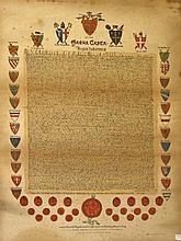 A COLOURED FACSIMILE,  The Magna Carta, A facsimile coloured copy from