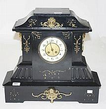 A BRASS MOUNTED ARCHITECTURAL STYLE POLISHED SLATE AND METAL MANTEL CLOCK,