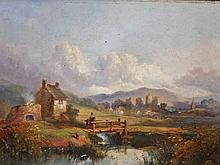 19TH CENTURY ENGLISH SCHOOL,  A Rural Landscape, with Figure Crossing a